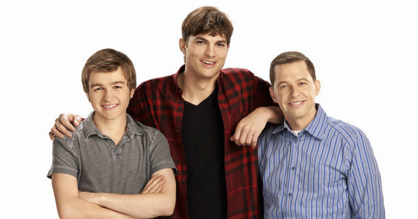 "Jon Cryer, Ashton Kutcher och Angus T. Jones i ""2 1/2 män"" i TV3 Play"