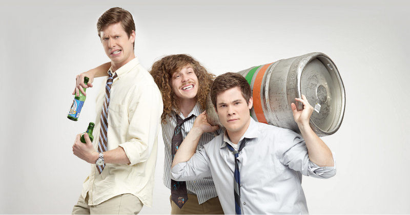 Medverkande i humorserien Workaholics i TV6 Play
