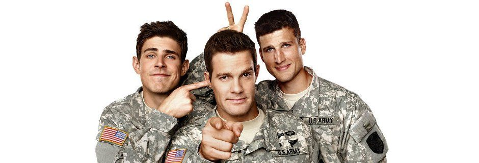 Bröderna Hill i humorserien Enlisted i TV6 Play