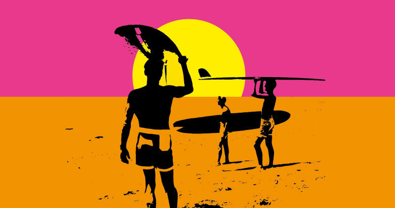 Grafik ur surfdokumentären The Endless Summer i UR Play