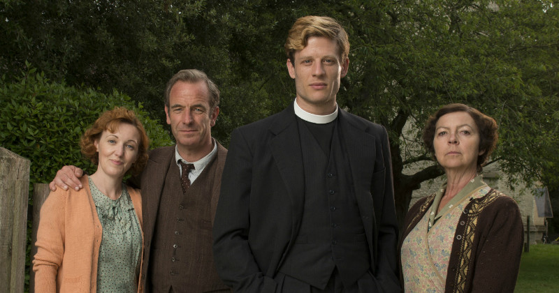 Kacey Ainsworth, Robson Green, James Norton and Tessa Peake-Jones i kriminalserien Grantchester i TV8 Play