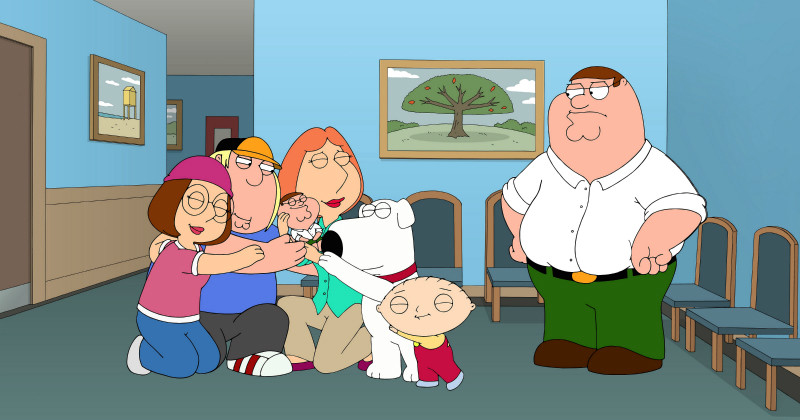 "Peter Griffin med familj i animerade serien ""Family Guy"" i TV6 Play"