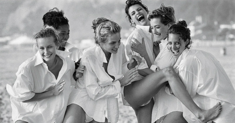 Estelle Lefébure, Karen Alexander, Rachel Williams, Linda Evangelista, Tatjana Patitz, and Christy Turlington Vogue